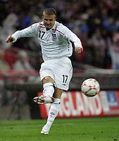 Photo: Paul Thomas/Sportsbeat Images.<br />England v Croatia. UEFA European Championships Qualifying. 21/11/2007.<br /><br />David Beckham of England.