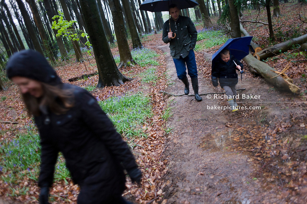 A 4 year-old boy holds an umbrella outdoors with his parents in family woods.