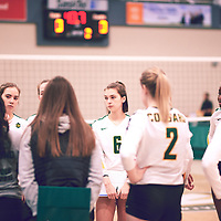 3rd year setter, Elizabeth Tooth (6) of the Regina Cougars during the Women's Volleyball home game on Fri Jan 18 at Centre for Kinesiology, Health & Sport. Credit: Arthur Ward/Arthur Images