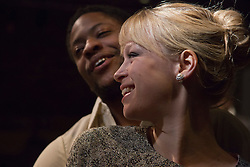 "© Licensed to London News Pictures. 01/11/2012. London, England. Pictured: Sian Breckin and Adetomiwa Edun. World Premiere of ""but i cd only whisper"", a play by Kristina Colón, directed by Nadia Latif, running at the Arcola Studio 2 from 31 October to 1 December 2012. Photo credit: Bettina Strenske/LNP"
