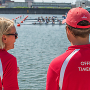 Omega time keepers at the start line <br /> <br /> Qualification races and training at the 2019 Junior Worlds, on the Sea Forest Waterway, Tokyo, Japan. Thursday 8  August 2019  © Copyright photo Steve McArthur / www.photosport.nz
