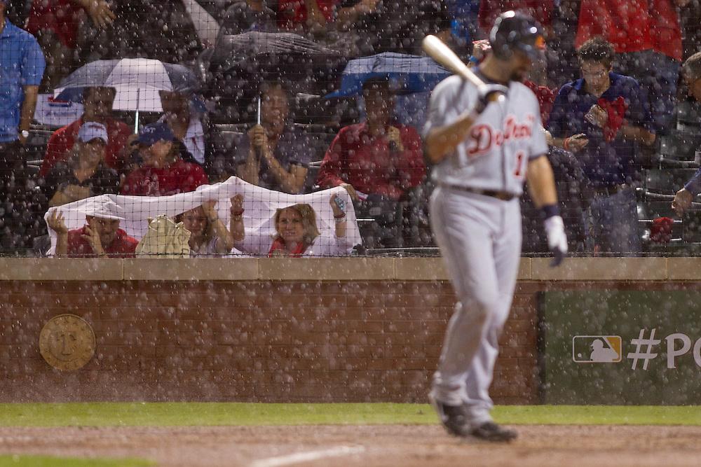 ARLINGTON, TX - OCTOBER 8: Rain suspends play in Game 1 of the 2011 American League Championship Series. Photographed at Rangers Ballpark in Arlington, Texas on October 8, 2011.(Photograph ©2011 Darren Carroll)