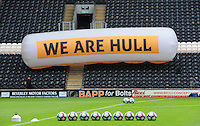 """A line of Nike Premier League footballs in front of a banner reading: """"We are Hull""""<br /> <br /> Photographer Chris Vaughan/CameraSport<br /> <br /> The Premier League - Hull City v Manchester United  - Saturday 27 August 2016 - KCOM Stadium - Hull<br /> <br /> World Copyright © 2016 CameraSport. All rights reserved. 43 Linden Ave. Countesthorpe. Leicester. England. LE8 5PG - Tel: +44 (0) 116 277 4147 - admin@camerasport.com - www.camerasport.com"""