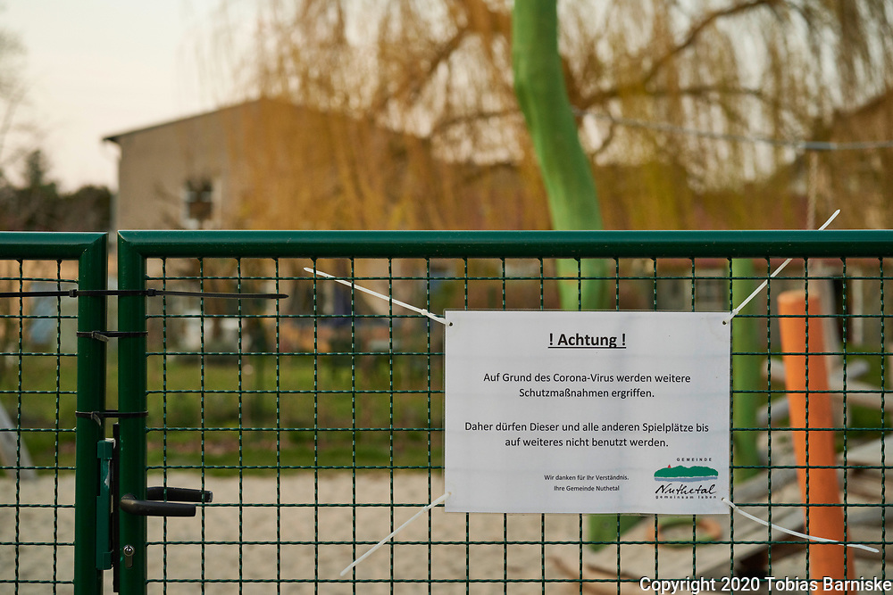 Corona pandemic in Germany: playground in a village in Brandenburg. Due to the pandemic, playgrounds have been closed.