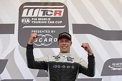 June 24, 2018 - Vila Real, Vila Real, Portugal - Thed Bjork from Sweden in Hyundai i30 N TCR of MRacing - YMR celebrating after winning Race 3 of FIA WTCR 2018 World Touring Car Cup Race of Portugal, Vila Real, June 24, 2018. (Credit Image: © Dpi/NurPhoto via ZUMA Press)