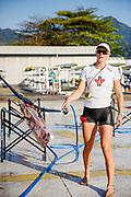 "Rio de Janeiro. BRAZIL.   2016 Olympic Rowing Regatta. Lagoa Stadium, CAN W1X  Carling ZEEMAN, washes her boat  <br /> Copacabana,  ""Olympic Summer Games""<br /> Rodrigo de Freitas Lagoon, Lagoa.   Saturday  13/08/2016 <br /> <br /> [Mandatory Credit; Peter SPURRIER/Intersport Images]"