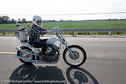 Savannah Rose of S&S riding from the Run What You Brung drag racing at Great Lakes Dragaway in Union Grove back to Milwaukee for the Harley-Davidson 115th Anniversary Celebration event. WI. USA. Friday August 31, 2018. Photography ©2018 Michael Lichter.