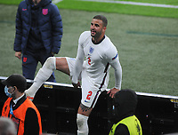 Football - 2021 UEFA European Championships - Finals - Group D - Czech Republic vs England - Wembley Stadium<br /> <br /> Kyle Walker of England jumps over the barrier to see his family at the final whistle<br /> <br /> Credit : COLORSPORT/ANDREW COWIE