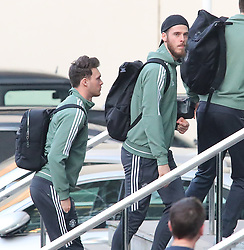 The Manchester United team arrive at The Lowry Hotel on Saturday evening to prepare for their home game against West Brom on Sunday afternoon. Seen: David De Gea and Kieran O'Hara.