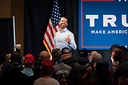 """DULUTH, MN – SEPTEMBER 9: Donald Trump, Jr. gives a thumbs-up to the crowd as he exits his """"Make America Great Again"""" rally in Duluth, Minnesota on Wednesday, Sept. 9, 2020."""