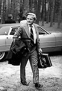 """(January 1977 – Plains, Georgia)  Charles Schultze, (Carter's designee for Chairman of the Council of Economic Advisors) arrives at he Carter's family retreat """"Pond House"""" just outside of the small south Georgia town of Plains.<br /> <br /> Charles Louis Schultze - born December 12, 1924 - is an American economist and public policy analyst. He served as the Chairperson of the Council of Economic Advisers, during the President Carter Administration. Schultze was appointed the Assistant Director of Bureau of the Budget by President John F. Kennedy in 1962, and was the Director from 1965 until 1968, during President Lyndon Johnson's Great Society agenda."""