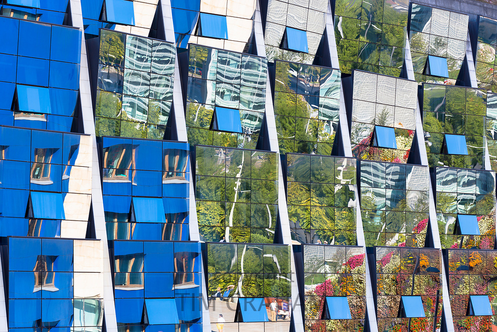 Reflections in the futuristic glass-fronted Silken Gran Hotel Domine in Bilbao, Basque country, Spain