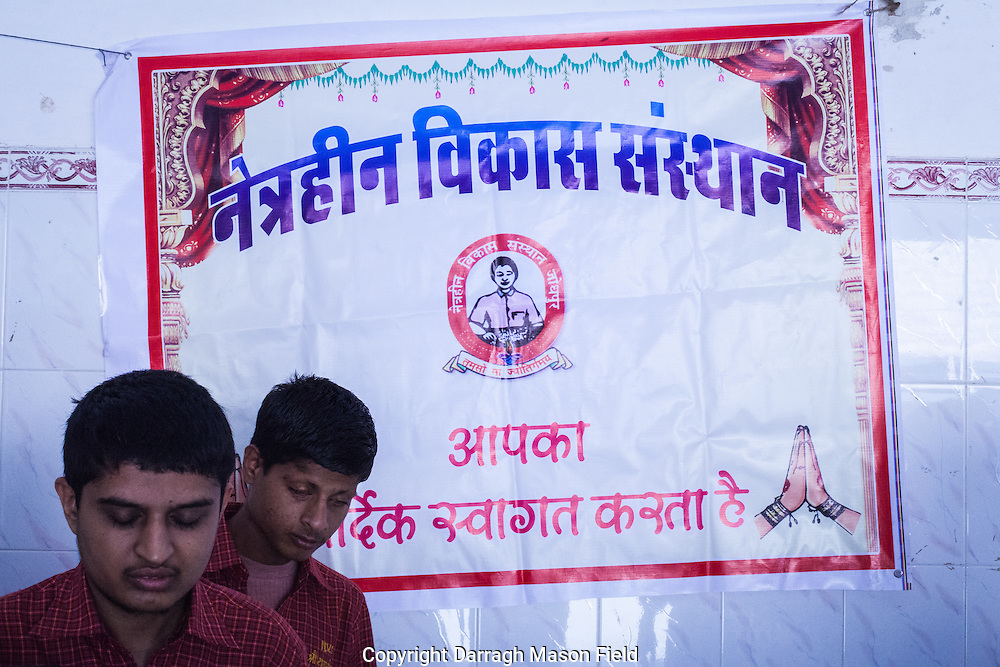 Blind boys at the Netraheen Vikas Sansthan school in Jodhpur