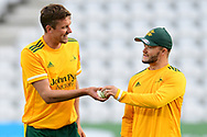 Jake Ball and Ben Duckett of Nottinghamshire during the Vitality T20 Blast North Group match between Nottinghamshire County Cricket Club and Leicestershire County Cricket Club at Trent Bridge, Nottingham, United Kingdom on 4 September 2020.