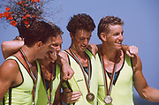Barcelona Olympic Games 1992<br /> Olympic Regatta - Lake Banyoles<br /> AUS M4-<br /> 'Oarsome foursome'<br /> Andrew Cooper, Michael Scott, Nic Green and James Tomkins <br /> Awards Cock with Gold medals..       {Mandatory Credit: © Peter Spurrier/Intersport Images]<br /> <br /> <br /> <br /> <br /> <br /> <br /> <br /> <br /> .       {Mandatory Credit: © Peter Spurrier/Intersport Images]<br /> <br /> <br /> <br /> <br /> <br /> <br /> <br /> <br /> .       {Mandatory Credit: © Peter Spurrier/Intersport Images]
