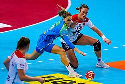 02-12-2019 JAP: Slovenia - Norway, Kumamoto<br /> Second day 24th IHF Womenís Handball World Championship, Slovenia lost the second match against Norway with 20 - 36. / Nina Zabjek #9 of Slovenia, Kari Skaar Brattset #13 of Norway
