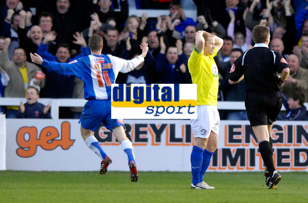 Photo: Jed Wee/Sportsbeat Images.<br /> Hartlepool United v Hereford United. Coca Cola League 2. 03/03/2007.<br /> <br /> Hereford's Simon Travis has his hands on his head in dismay as Hartlepool's Eifion Williams celebrates scoring the winning goal.