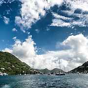 The habour at West End on Tortola in the British Virgin Islands, with Tortola on the left and Frenchman's Cay on the right.