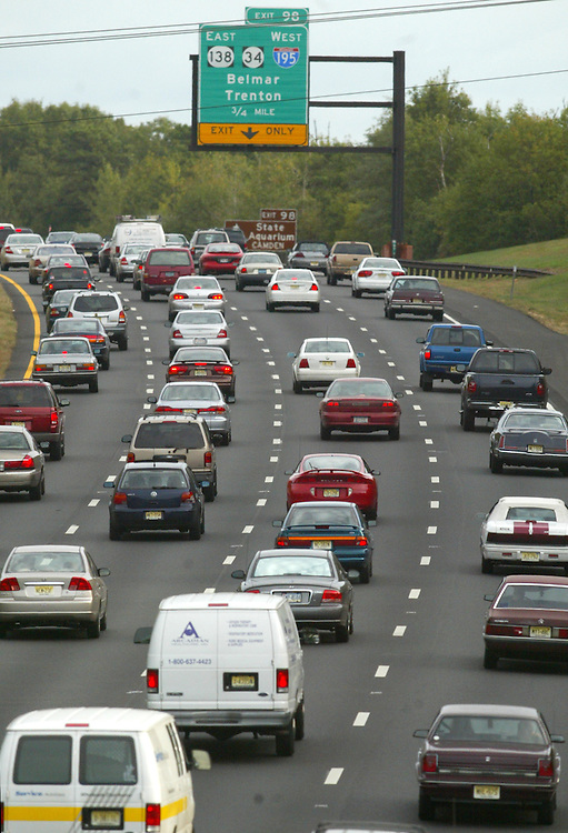(PMONMOUTH) Wall Twp 10/9/2002   Heavy traffic heads north on th State Parkway just south of the Wall Twp exit 98.  A overnight traffic accident caused a 10+ miles jam on the roadway.  Michael J. Treola Staff Photographer.
