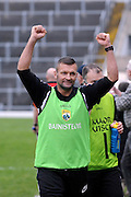 30-11-2014: Ardfert manager Stephen Wallace celebrates after their victory over Valley Rovers in the Munster GAA Club Intermediate Football final in Killarney on Saturday.<br /> Picture by Don MacMonagle XXJOB