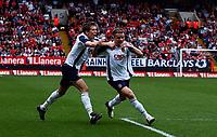 Photo: Olly Greenwood.<br />Charlton Athletic v Portsmouth. The Barclays Premiership. 17/04/2006. Portsmouth Andres D'Alessandro celebrates scoring
