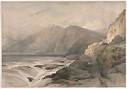 Coast of Syria 1839 Watercolor painting by David Roberts (1796-1864). An engraving reprint by Louis Haghe was published in a the book 'The Holy Land, Syria, Idumea, Arabia, Egypt and Nubia. in 1855 by D. Appleton & Co., 346 & 348 Broadway in New York.