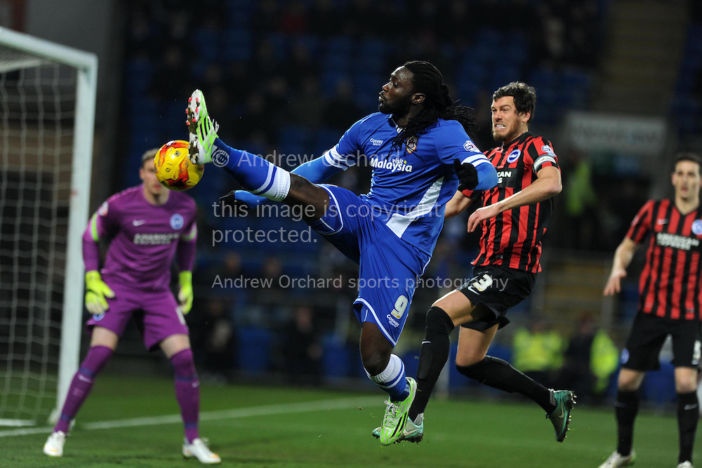 Kenwyne Jones of Cardiff city attempts to get on the end of a cross. Skybet football league championship match, Cardiff city v Brighton & Hove Albion at the Cardiff city Stadium in Cardiff, South Wales on Tuesday 10th Feb 2015.<br /> pic by Andrew Orchard, Andrew Orchard sports photography.