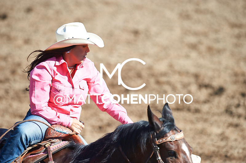 Barrel racer Sheena Robbins of Fresno, CA competes at the Clovis Rodeo in Clovis, CA.<br /> <br /> <br /> UNEDITED LOW-RES PREVIEW<br /> <br /> <br /> File shown may be an unedited low resolution version used as a proof only. All prints are 100% guaranteed for quality. Sizes 8x10+ come with a version for personal social media. I am currently not selling downloads for commercial/brand use.