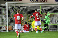 Bristol City's Tyler Garratt scores an own goal to put Forest Green 2-1 ahead during the The County Cup match between Forest Green Rovers and Bristol City at the New Lawn, Forest Green, United Kingdom on 23 November 2015. Photo by Shane Healey.