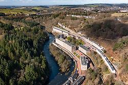 Aerial view of New Lanark conservation village in Lanark, South Lanarkshire, Scotland, UK