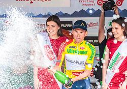 06.07.2017, Kitzbühel, AUT, Ö-Tour, Österreich Radrundfahrt 2017, 4. Etappe von Salzburg auf das Kitzbüheler Horn (82,7 km/BAK), im Bild Träger des gelben Trikots Stefan Denifl (AUT, Aqua Blue Sport) // Yellow Jersey of the Overall Leader Stefan Denifl of Austria (Aqua Blue Sport) during the 4th stage from Salzburg to the Kitzbueheler Horn (82,7 km/BAK) of 2017 Tour of Austria. Kitzbühel, Austria on 2017/07/06. EXPA Pictures © 2017, PhotoCredit: EXPA/ JFK