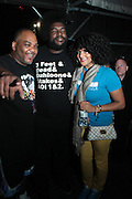 """June 2, 2012- Philadelphia, PA, United States: (L-R) Recording Artist Mace(De La Soul) and Quest?Love(The ROOTS) and Recording Artist Marsha Ambrosious attends the 5th Annual ROOTS Picnic held at Festival Pier at Penn's Landing in Philadelphia, PA . The Roots is an American hip hop/neo soul band formed in 1987 by Tariq """"Black Thought"""" Trotter and Ahmir """"Questlove"""" Thompson in Philadelphia, Pennsylvania. They are known for a jazzy, eclectic approach to hip hop which includes live instrumentals. (Photo by Terrence Jennings)"""