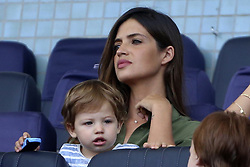July 30, 2017 - Sara Carbonero with both kids supporting Iker Casillas at FC Porto presentation (Credit Image: © Atlantico Press via ZUMA Wire)