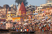 Traditional scenes of tourists in boats on River Ganges at Varanasi, Benares, Northern India RESERVED USE - NOT FOR DOWNLOAD -  FOR USE CONTACT TIM GRAHAM