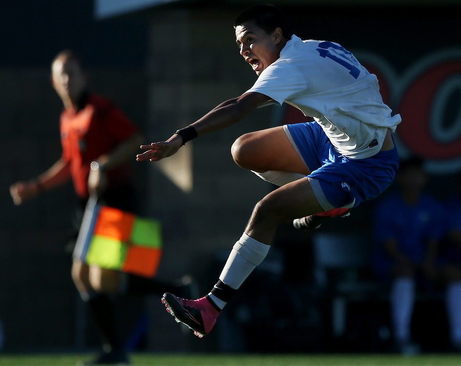 Santiago Canyon College forward Raul Cota leaps after taking a shot on goal during the first half of a men's college soccer game against Santa Ana College on Friday, Nov. 6, 2015, at Santa Ana College in Santa Ana, Calif.<br /> <br /> Photo by Mike Christy / Sports Shooter Academy