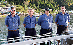 Crew members of RFA Waveknight stand to attention as Prince Harry arrives in Soufriere on the island of St Lucia during the second leg of his Caribbean tour.
