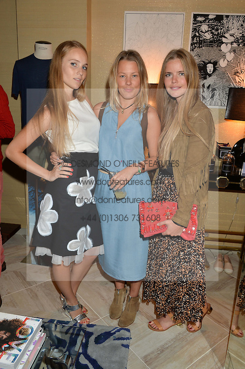 Left to right, PETRA PALUMBO, DAVINA HARBORD and KATIE READMAN at a party to celebrate the launch of Baar & Bass, 336 Kings Road, London on 9th September 2014.