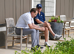 Auburn head football coach Gus Malzahn and Former Georgia Tech head football coach Paul Johnson during the Chick-fil-A Peach Bowl Challenge Closest to the Pin Skills Competition at the Ritz Carlton Reynolds, Lake Oconee, on Monday, April 29, 2019, in Greensboro, GA. (Dale Zanine via Abell Images for Chick-fil-A Peach Bowl Challenge)
