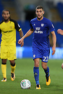 Stuart O'Keefe of Cardiff city in action.Carabao Cup 2nd round match, Cardiff city v Burton Albion at the Cardiff City Stadium in Cardiff, South Wales on Tuesday 22nd August  2017.<br /> pic by Andrew Orchard, Andrew Orchard sports photography.