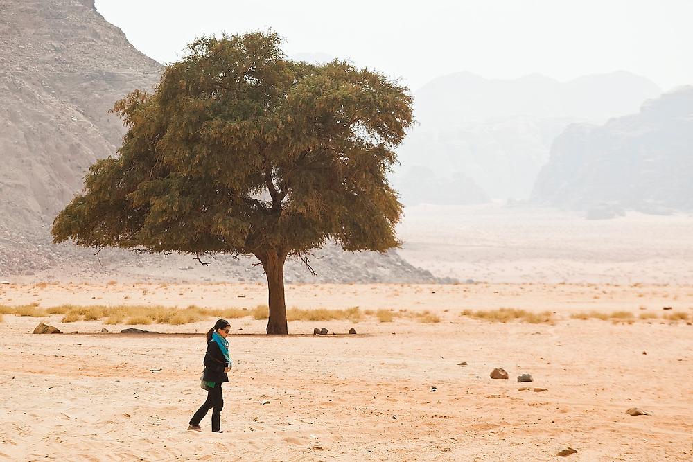Yoesun Lim walks alone past a tree in the desert near Lawrence's Spring in Wadi Rum, Jordan.