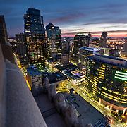 Skyline of downtown Kansas City, Missouri buildings at sunrise / early morning.