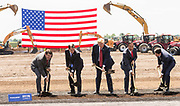 President Donald Trump, center, shovels dirt along with Wisconsin Gov. Scott Walker, second form left, Foxconn CEO Terry Gou, second from right, and U.S. House Speaker Paul Ryan, (R-WI) right, at the groundbreaking for the Foxconn Technology Group computer screen plant on June 28, 2018 in Mt Pleasant, Wisconsin. Foxconn has committed to build a $10 billion plant in what it has named the Wisconn Valley Science and Technology Park, and to creating 13,000 Wisconsin jobs. (Photo by Andy Manis/Getty Images)