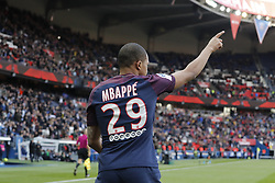 PSG's Kylian Mbappe joy after scoring the 1-0 goal during the French First League soccer match, PSG vs Angers in Parc des Princes, France, on March 14th, 2018. PSG won 2-1. Photo by Henri Szwarc/ABACAPRESS.COM