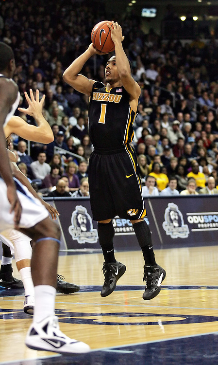 Dec 30, 2011; Norfolk, VA, USA; Missouri Tigers guard Phil Pressey (1) shoots the ball against the Old Dominion Monarchs at the Ted Constant Convocation Center. Mandatory Credit: Peter Casey-US PRESSWIRE