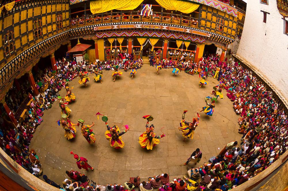 Dance of the Drum from Dramitse, Paro Tsechu (festival), Paro Dzong, Paro, Bhutan