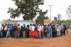 Aug. 8, 2017 - Nairobi, Kenya -  People queue to cast ballot at a polling station in Nairobi. Kenya held presidential election. Kenyans on Tuesday started voting in a fiercely contested election that pits Kenyatta against challenger Odinga. This East Africa economic hub is known known for its relative, long-term stability as well as vying ethnic allegiances that shadow its democracy. (Credit Image: © Chen Cheng/Xinhua via ZUMA Wire)