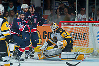 REGINA, SK - MAY 25: Cameron Hebig #41 and Sam Steel #23 of Regina Pats celebrate a second period goal against Kaden Fulcher #33 of Hamilton Bulldogs at the Brandt Centre on May 25, 2018 in Regina, Canada. (Photo by Marissa Baecker/CHL Images)