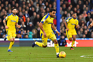 Andy Barcham (17) of AFC Wimbledon on the attack during the EFL Sky Bet League 1 match between Portsmouth and AFC Wimbledon at Fratton Park, Portsmouth, England on 1 January 2019.