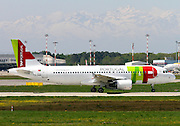 TAP Portugal, Airbus A320. Photographed at Malpensa airport, Milan, Italy