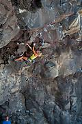 Cerre Francis on Mac Daddy 5.11d, Skunk Cave, Dierkes Lake, ID